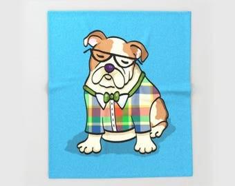 "English Bulldog Blanket - Hipster English Bulldog - sizes - 50"" x 60"" or 60"" x 80"" -  Choose background Color"