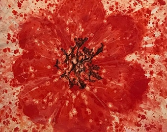 Single Red Flower -  Original Abstract Art