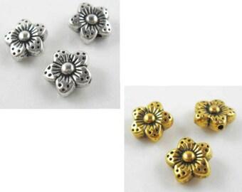 10/40/300pcs Tibetan Silver/Gold Flower Spacer Beads 9x4.5mm