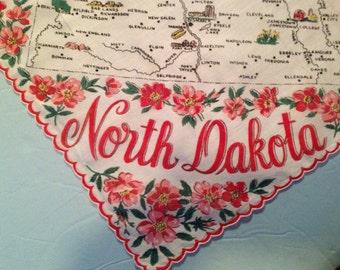 """Vintage souvenir North Dakota state hankie / handkerchief. 13 1/2"""" x 13 1/2"""". #658"""