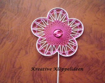 Flower plug with bobbin work in white and pink