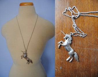 80s HUGE Unicorn Charm Necklace, Vintage Unicorn Pendant Necklace - silver tone, long necklace, unicorn jewelry, magical, 80s / 90s