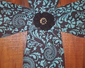 Fabric Wall Cross on Wood