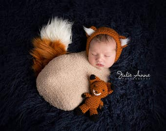 Newborn Props - Fox Bonnet and Tail Set - Comes with matching stuffed fox - Newborn Fox Set - Fox Hat, Tail, and Stuffed Toy -