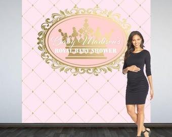 Royal Princess, Baby Shower Backdrop- Photo Booth Backdrop- Royal Baby Shower Backdrop, Printed Custom Backdrop, Personalized Backdrop