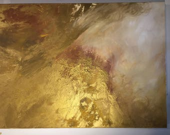 "Large Gold and White Abstract Painting - 30x40 ""Underneath the Sunset"""