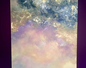 Huge Abstract Painting, XXL Acrylic Abstract Art, Gold Leaf, 200 x 100
