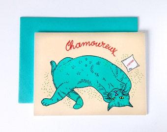 "Greeting Card ""Chamoureux"", Cat rolling in catnip, humor, digital print"