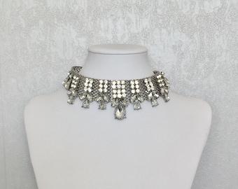 Statement choker,choker necklace,crystal choker, occasion necklace, wedding necklace,prom necklace, sexy choker