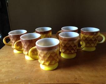 7 Vintage Anchor Hocking Fire King diamond pattern orange brown mugs 7