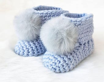 Baby Boy Shower Gift, Baby Booties Crochet, Socks, Slippers, Newborn First  Shoes