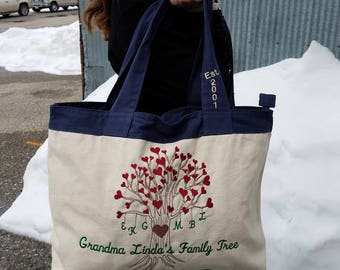 Grandma Family Tree - Personalized Embroidered Design On Bag