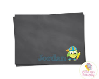 Owl Note Card, Boy Note Card, Chalkboard Note Card, Owl Stationery, School Boy Stationery, Chalkboard Stationery, Printable Note Card