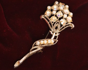 Vintage brooch, flower  design,  silver toned, aurora borealis stones, faux pearls, tall brooch, scarf pin, floral brooch.