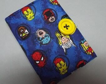 Crayon Wallet, Organizer, Art Kit for Children Super Heroes Fabric
