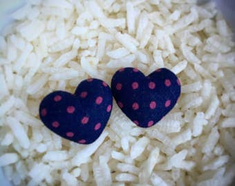 Navy Heart Earrings with Pink Polkadots, Heart Earrings, Polkadot Heart Earrings, Polkadot Earrings, Heart Studs, Polkadot Studs, Hearts