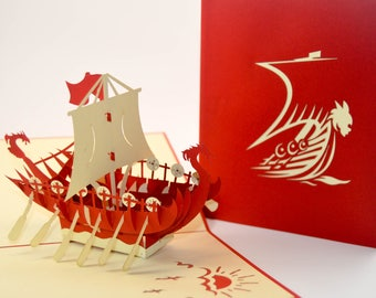 Ship Pop Up Card - Greeting Card - Ship Architecture - Beautiful Art -  3D Pop Up Card - Boat Sailing - Gift - Paper Good