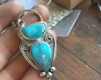 Turquoise pendant necklace white water pyrite turquoise silver necklace handmade