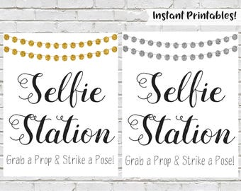 Selfie Station Sign, Printable Wedding Sign, Photo Booth Sign, Graduation Party Decor, Grab A Prop Strike A Pose, Graduation Party Selfie