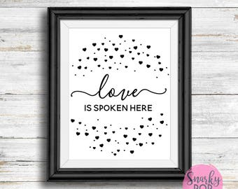 Love Is Spoken Here, LDS Hymn, Printable Art, Wall Art Print, Instant Dowload, Printable Quotes, Home Decor,  Printable Wall Art