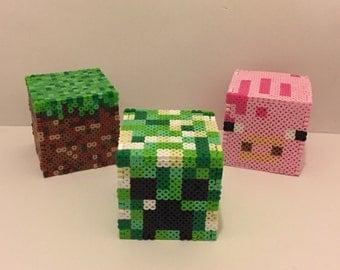 Minecraft Creeper, Pig, or Grass Perler Bead Box, Piggy Bank, or Nightlight