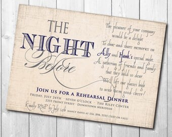 Beautiful Rehearsal Dinner Invitation with Navy/Gray ink/DIGITAL FILE/printable/wording and colors can be changed