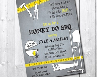 Honey Do BBQ Invitation, Couple's Shower, Printable Invites, I do bbq, honey do shower, tool shower/Digital File/wording can be changed