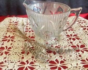 Vintage Jeanette Glass Iris Clear Creamer