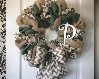 "22"" INITIAL Christmas Wreath, burlap initial wreath, green burlap wreath, xmas wreath, chevron burlap wreath, holiday wreath, xmas burlap"