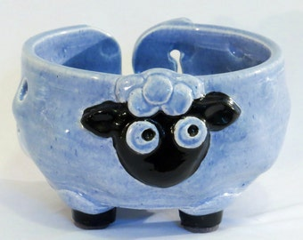 Periwinkle blue and black ceramic sheep yarn bowl