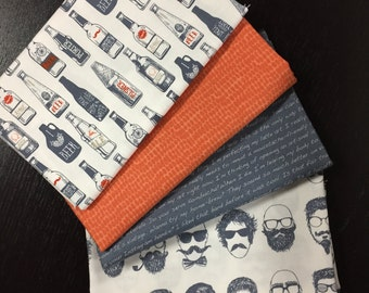 Hipster by Dear Stella Fabrics - Manly Fabric Bundle - 4 Half Yard Cuts