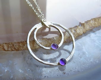 silver amethyst necklace - sterling silver necklace - hammered silver necklace - delicate silver necklace