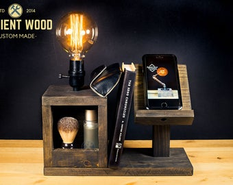Wood Bedside Utility Storage Box Lamp With Wood Stand Electronic Docking Station & Apple watch dock charger