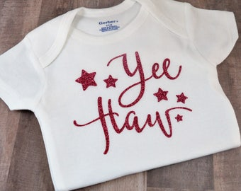 Yee Haw Southern Country Rodeo Baby One-Piece Baby Shower Birthday Coming Home Gift Idea Southern Girl Cowgirl Bodysuit Funny Creeper Shirt