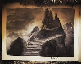 Castle in the Underworld Watercolor