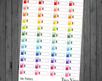 Gas Tracker Planner Stickers: Rainbow, Bill Pay Stickers, Budget Stickers