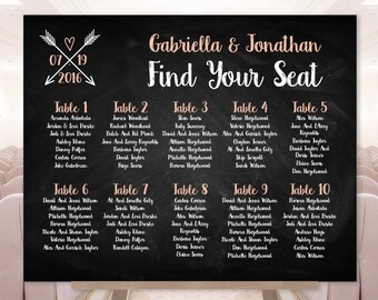 Chalkboard Seating Chart Sign / Chalkboard, Whimsical Arrow, Heart, Chalk Lettering / Seating Sign ▷ Printable File {or} Printed & Shipped