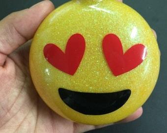 Emoji glitter ornament - heart eyes