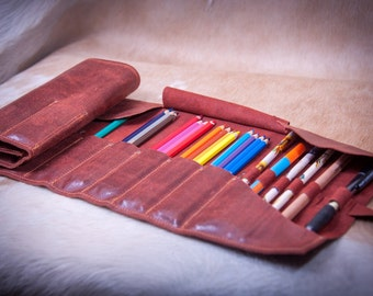 Leather pencil roll for 48 pencils case - brush roll - Handmade Leather Pen organizer - leather pencil case - pencil roll case