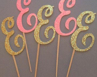 12PC Gold and Pink Initial Picks, Bridal Shower Cupcake Topper, Wedding Cupcake Toppers, Cupcake Toppers