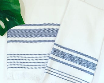 Monogrammed Turkish Towel Blue and White Bath and Hand Towel Sets-Monogrammed Gift-Powder Room-Towels-Personalized Gift-Modern-Home