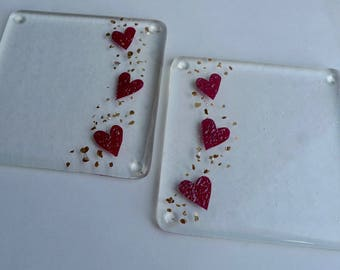Fused glass heart coasters. Heart coasters. Wedding gift.