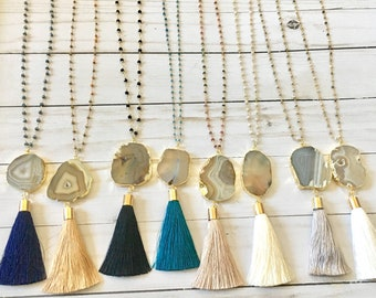 Popular Agate tassel necklace, Long layering tassel necklace.Stone tassel necklace,rosary chain necklace, druzy tassel necklace, boho, gift
