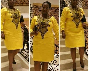 Yellow and black embroidered dress. Size 18
