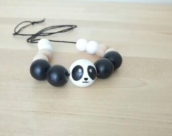 SALE! Panda Bear Wooden Beaded Necklace, wood beads