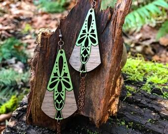 Wooden Earrings - Green Lace Vintage