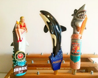 Shark Tap Handles Lost Coast Great White-Miami Brewing Shark Bait-Alaskan Whale Summer Ale- Orca-Rare Beer Taps-Fishing Gifts-Fish Taps