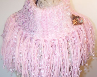 Knit Fringed Cowl Scarf, Soft Pinks, Scarf, Over Sized Cowl, Women's All Season Scarf, Accessory Gift, Romantic, Free Ship, Brooch Included