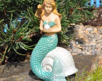 Mermaid with Pearl for Miniature Garden, Fairy Garden