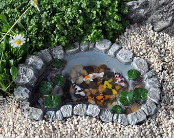 Mini Koi Lily Pad Pond for Miniature Garden, Fairy Garden